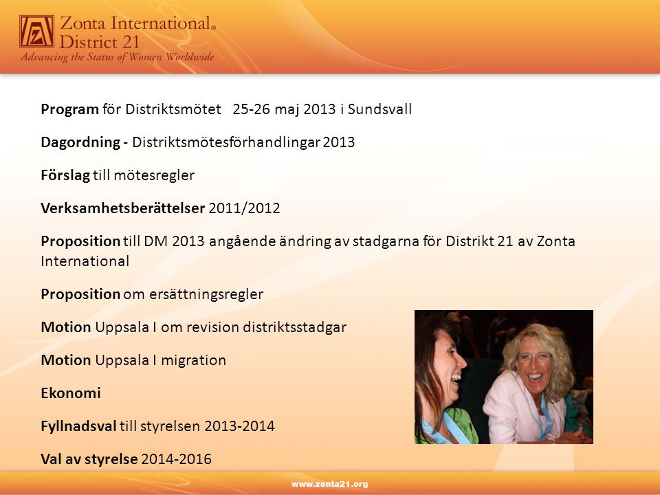 Program för Distriktsmötet 25-26 maj 2013 i Sundsvall