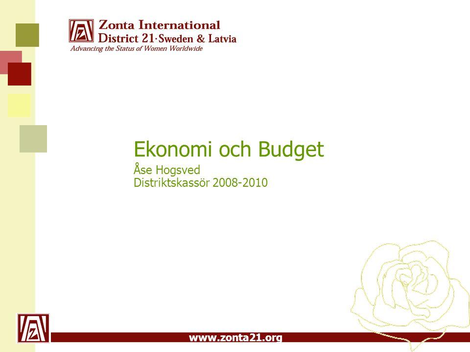 Ekonomi och Budget Åse Hogsved Distriktskassör 2008-2010