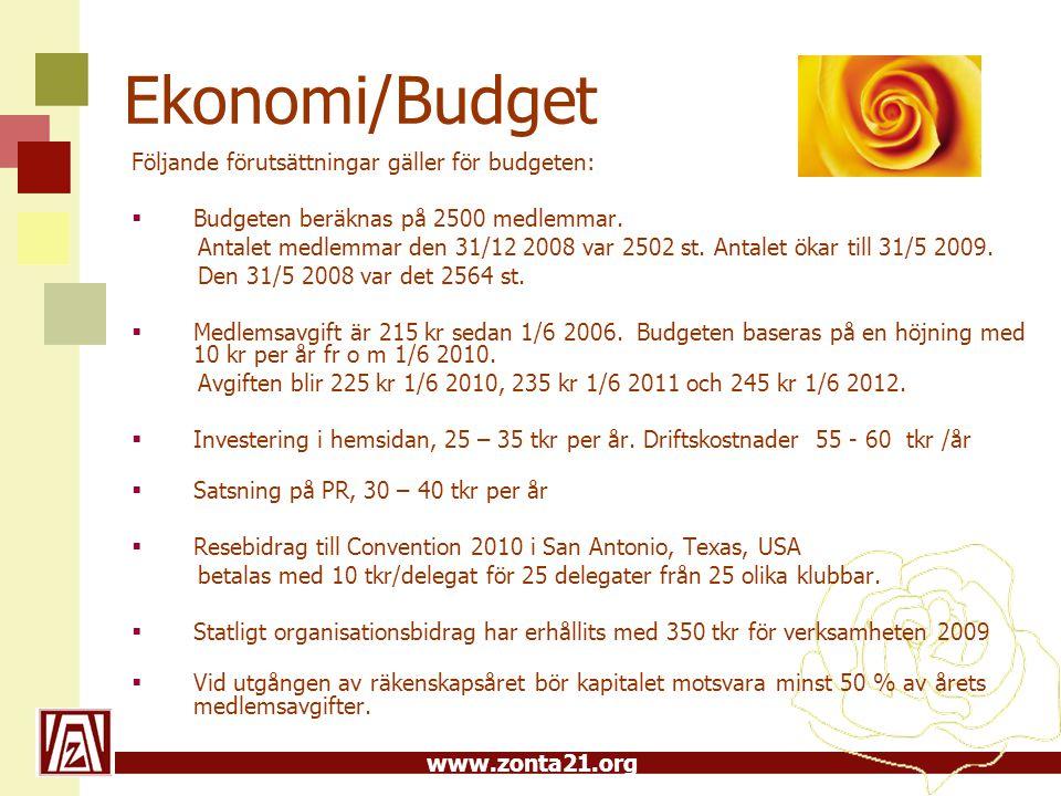 Ekonomi/Budget Följande förutsättningar gäller för budgeten: