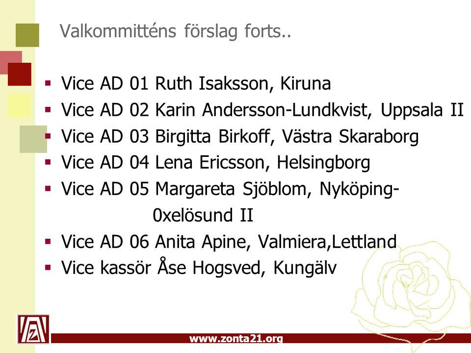 Valkommitténs förslag forts..