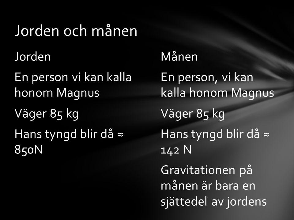 Jorden och månen Jorden En person vi kan kalla honom Magnus Väger 85 kg Hans tyngd blir då ≈ 850N