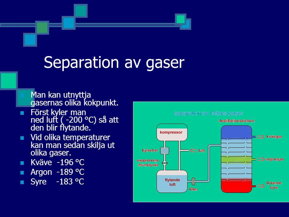 Separation av gaser Man kan utnyttja gasernas olika kokpunkt.