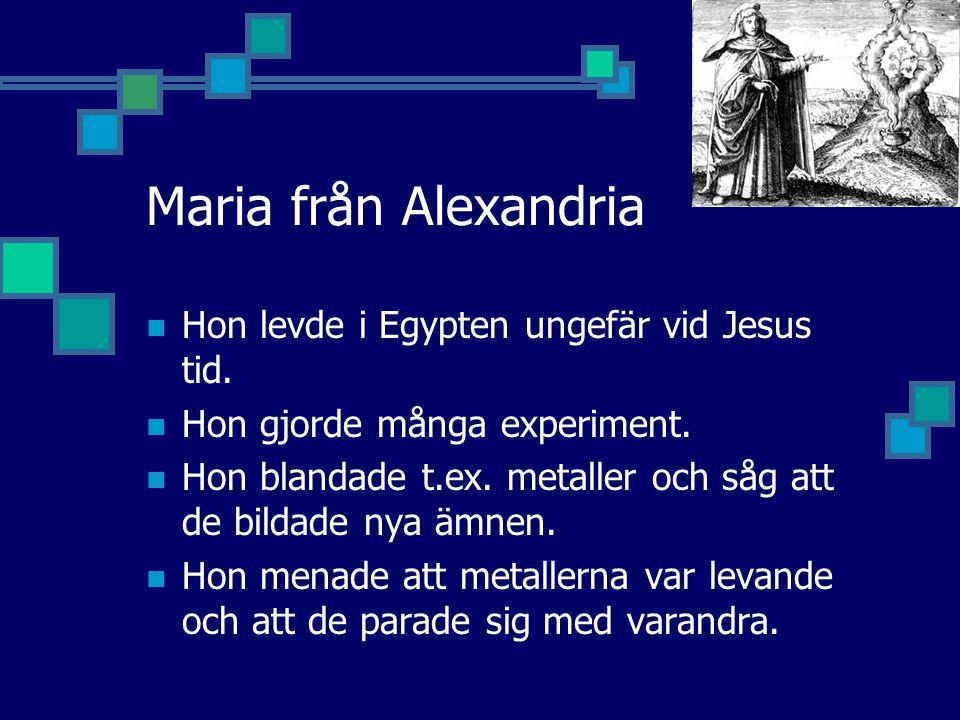 Maria från Alexandria Hon levde i Egypten ungefär vid Jesus tid.