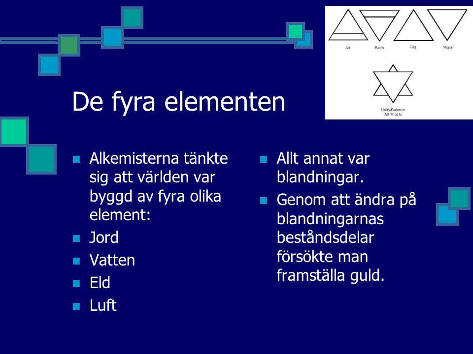 De fyra elementen Alkemisterna tänkte sig att världen var byggd av fyra olika element: Jord. Vatten.