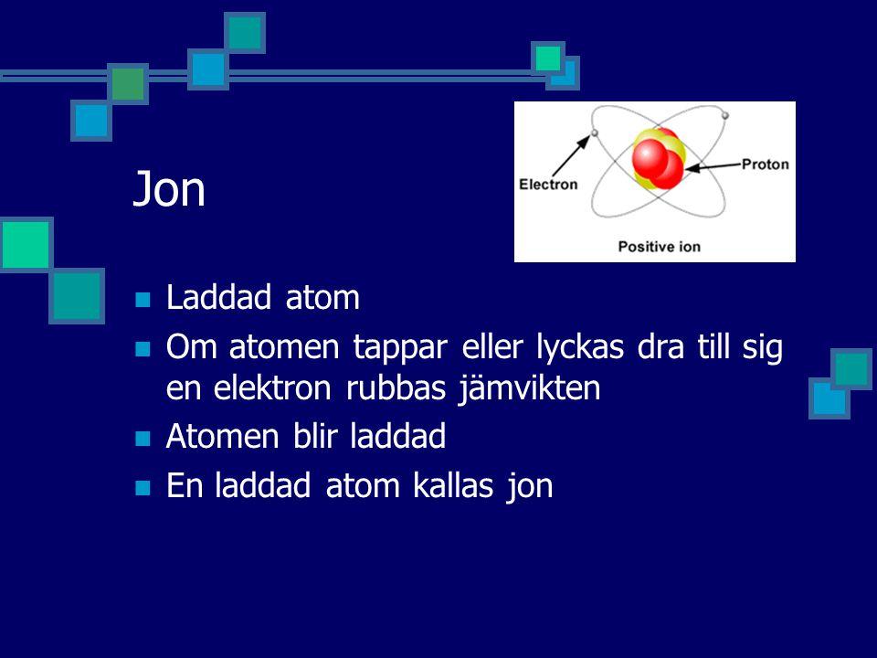 Jon Laddad atom. Om atomen tappar eller lyckas dra till sig en elektron rubbas jämvikten. Atomen blir laddad.