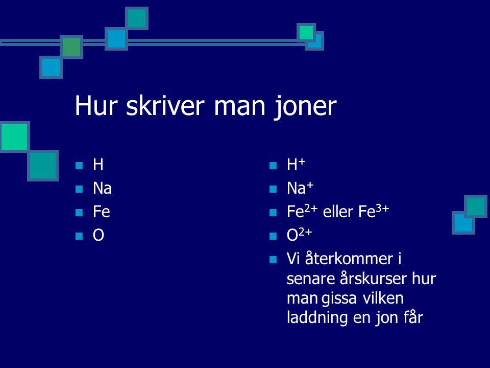 Hur skriver man joner H Na Fe O H+ Na+ Fe2+ eller Fe3+ O2+