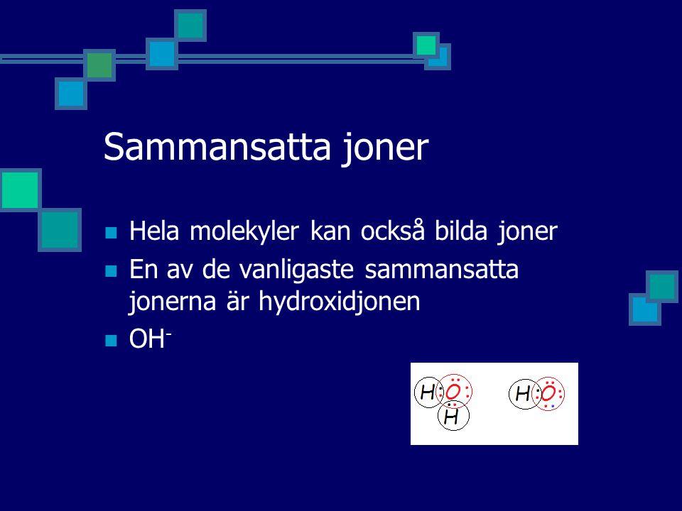 Sammansatta joner Hela molekyler kan också bilda joner
