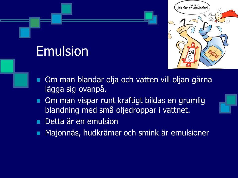 Emulsion Om man blandar olja och vatten vill oljan gärna lägga sig ovanpå.