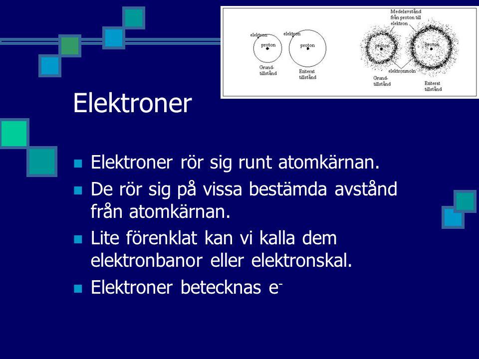 Elektroner Elektroner rör sig runt atomkärnan.