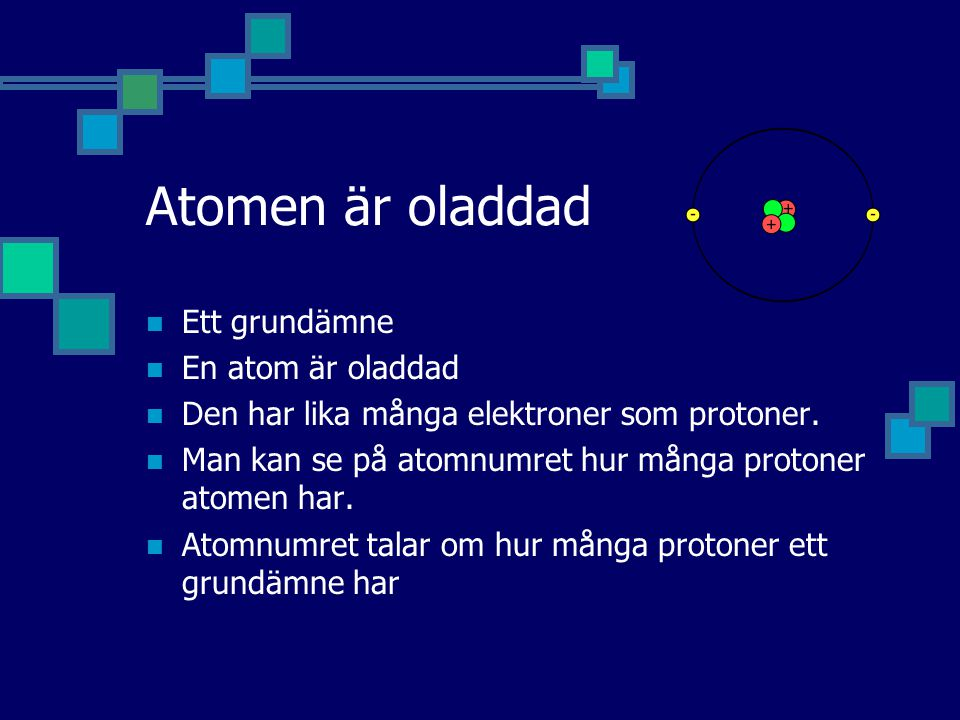 Atomen är oladdad Ett grundämne En atom är oladdad