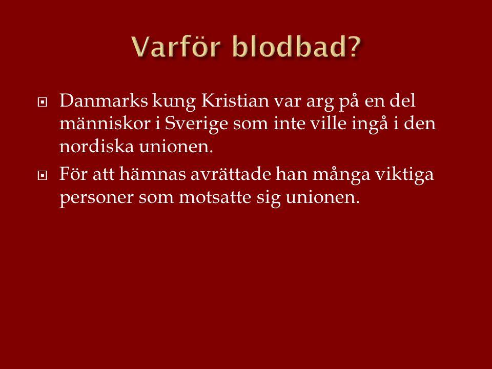 Varför blodbad Danmarks kung Kristian var arg på en del människor i Sverige som inte ville ingå i den nordiska unionen.