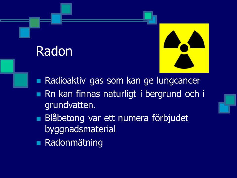 Radon Radioaktiv gas som kan ge lungcancer
