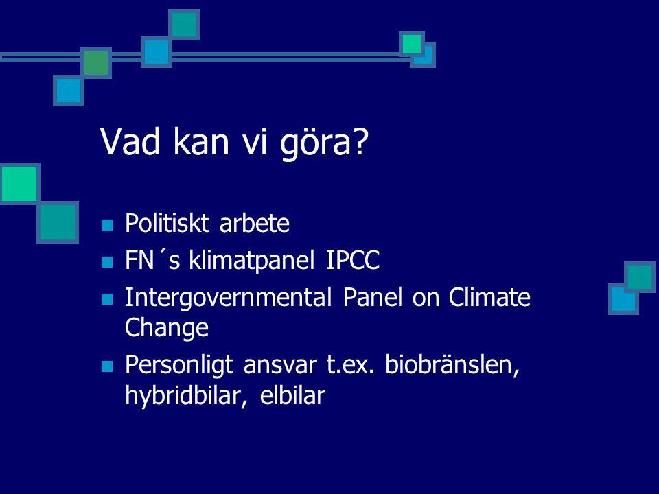 Vad kan vi göra Politiskt arbete FN´s klimatpanel IPCC