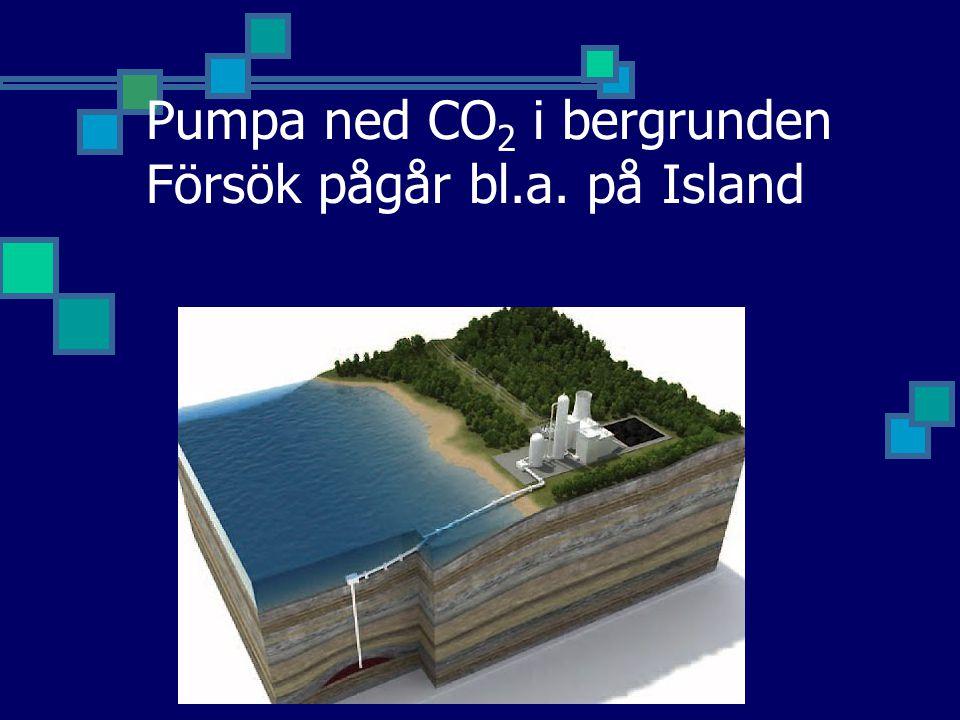 Pumpa ned CO2 i bergrunden Försök pågår bl.a. på Island