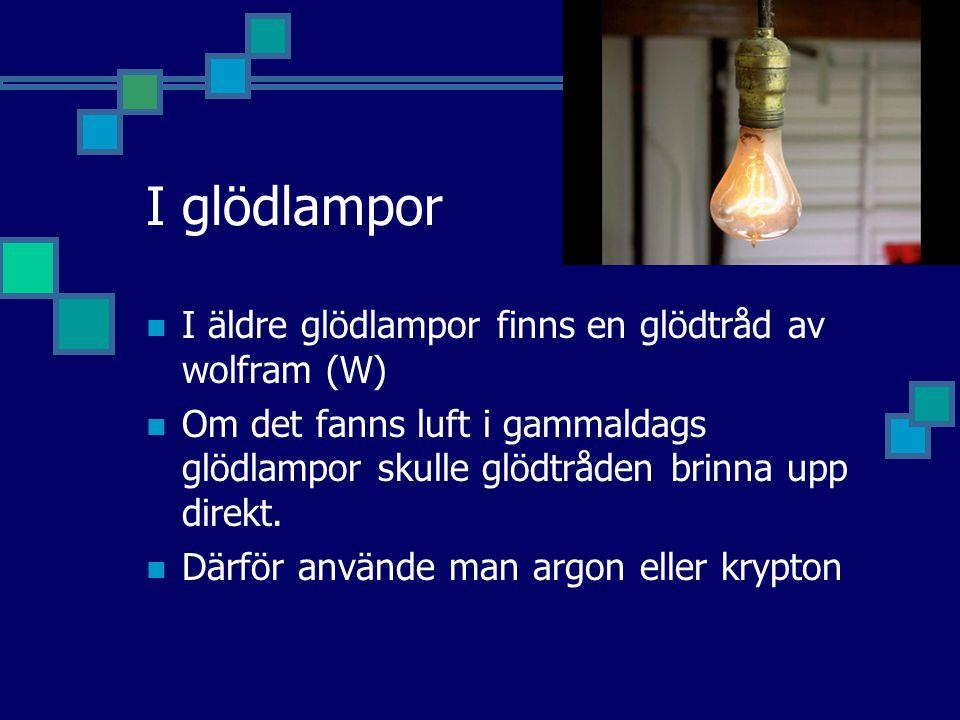 I glödlampor I äldre glödlampor finns en glödtråd av wolfram (W)