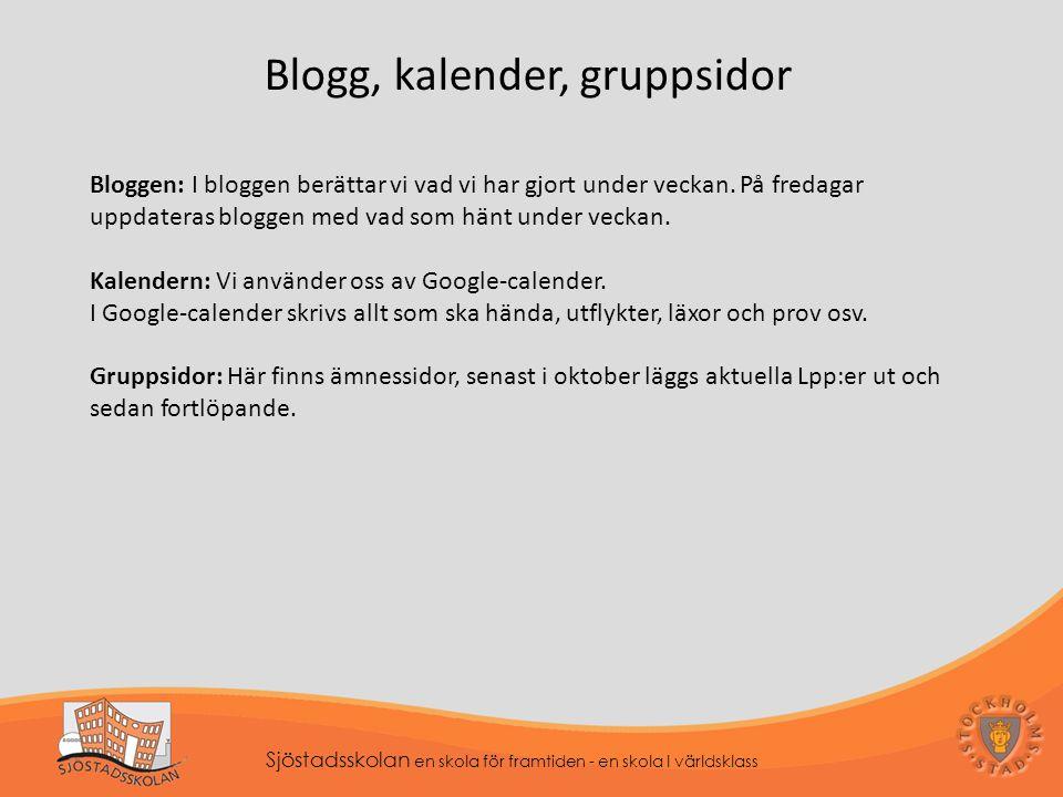 Blogg, kalender, gruppsidor