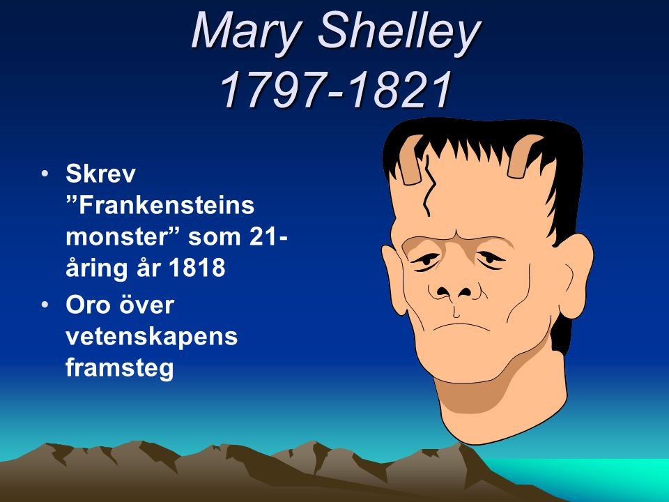 Mary Shelley 1797-1821 Skrev Frankensteins monster som 21-åring år 1818.