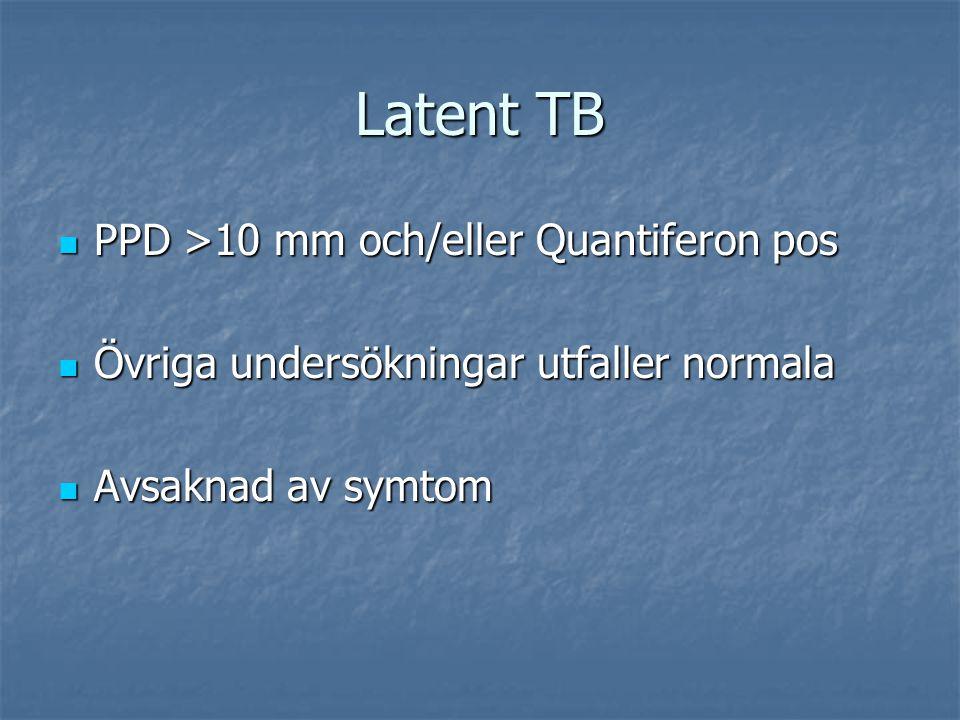 Latent TB PPD >10 mm och/eller Quantiferon pos