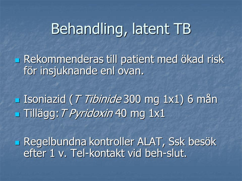 Behandling, latent TB Rekommenderas till patient med ökad risk för insjuknande enl ovan. Isoniazid (T Tibinide 300 mg 1x1) 6 mån.