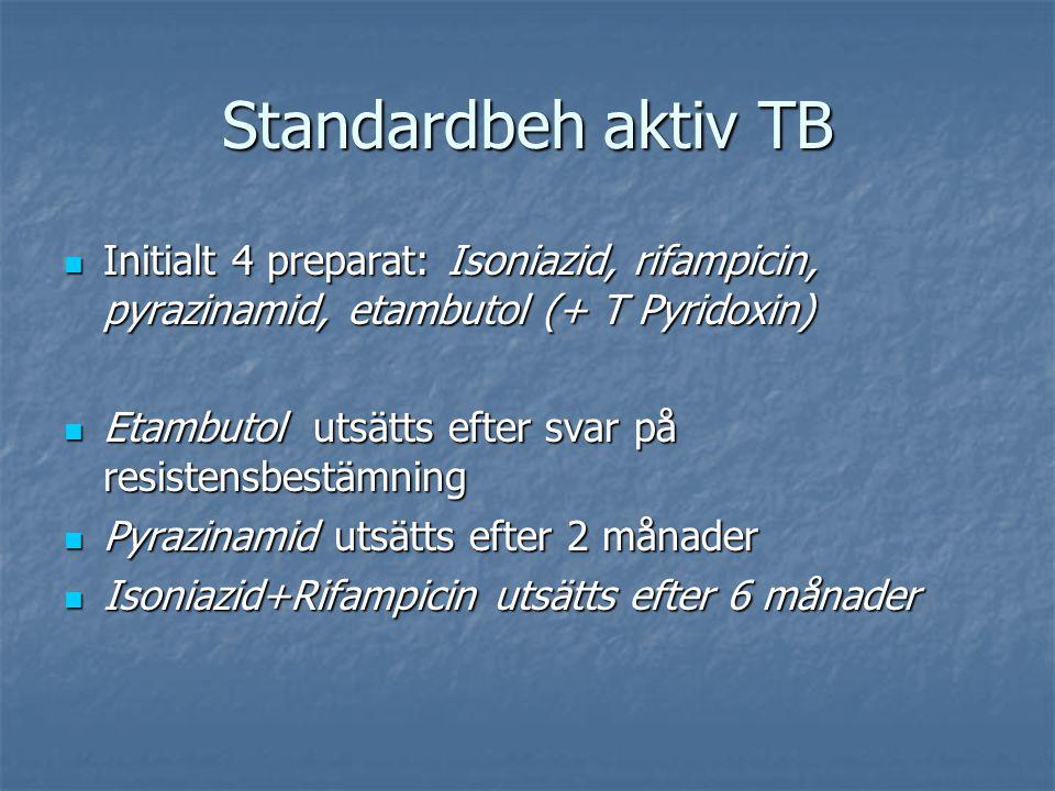 Standardbeh aktiv TB Initialt 4 preparat: Isoniazid, rifampicin, pyrazinamid, etambutol (+ T Pyridoxin)