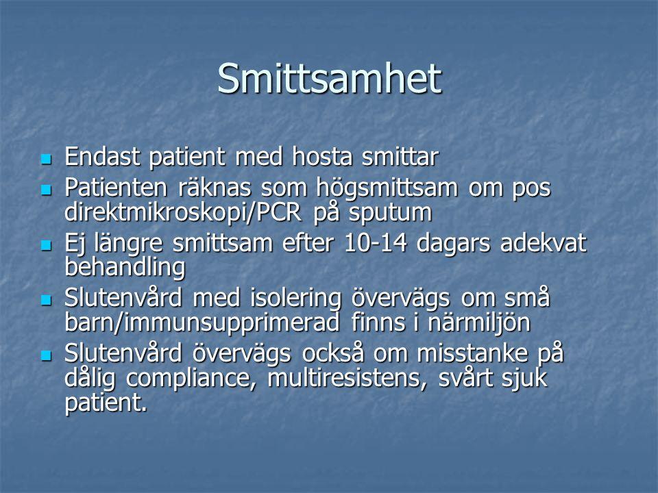Smittsamhet Endast patient med hosta smittar