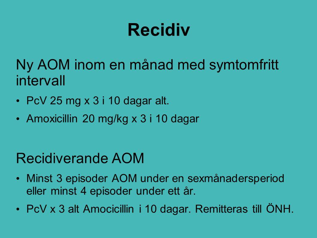 Recidiv Ny AOM inom en månad med symtomfritt intervall