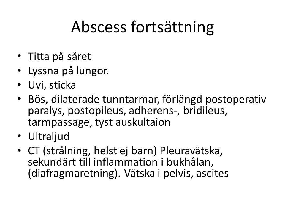 Abscess fortsättning Titta på såret Lyssna på lungor. Uvi, sticka