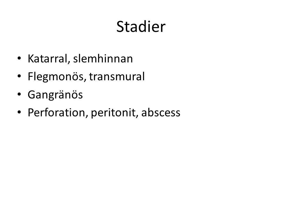 Stadier Katarral, slemhinnan Flegmonös, transmural Gangränös
