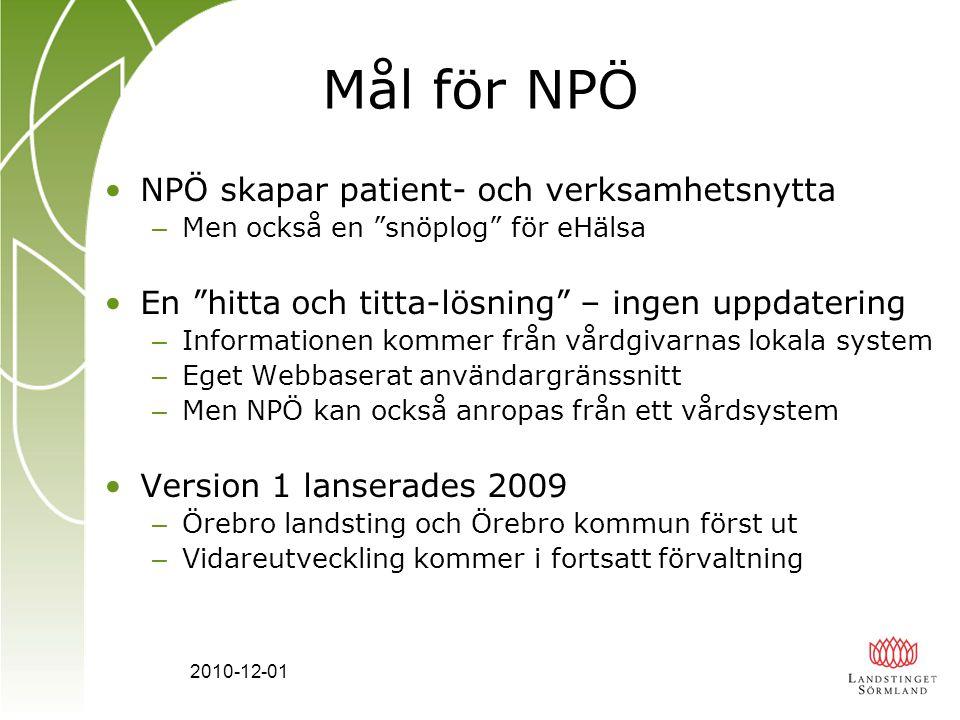 Mål för NPÖ NPÖ skapar patient- och verksamhetsnytta