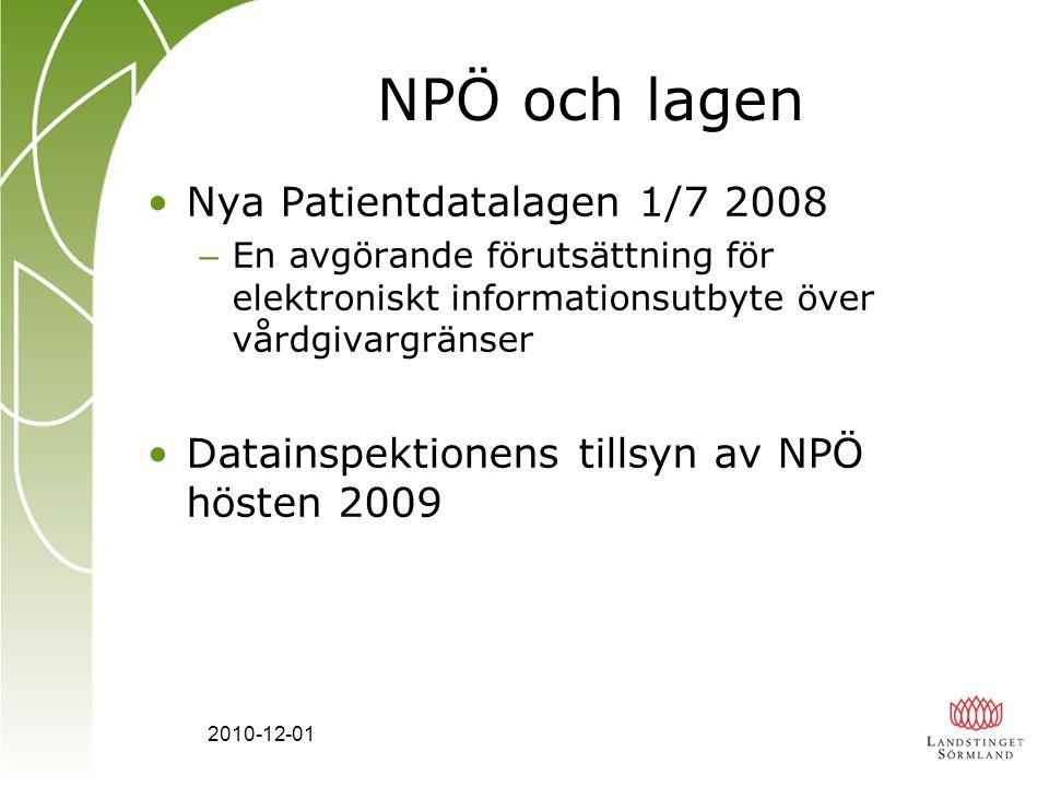 NPÖ och lagen Nya Patientdatalagen 1/7 2008