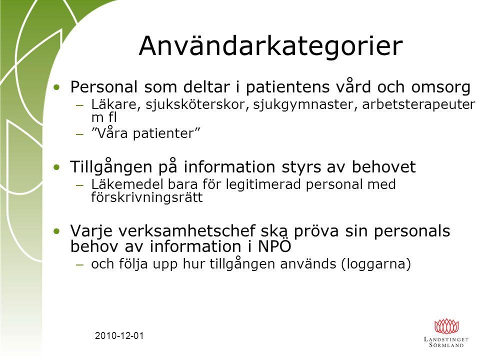 Användarkategorier Personal som deltar i patientens vård och omsorg