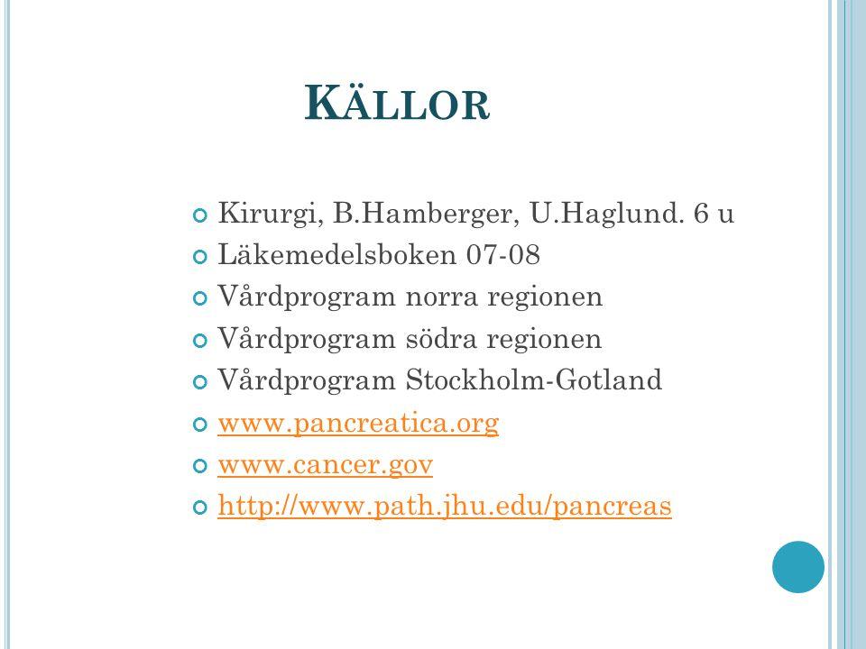 Källor Kirurgi, B.Hamberger, U.Haglund. 6 u Läkemedelsboken 07-08