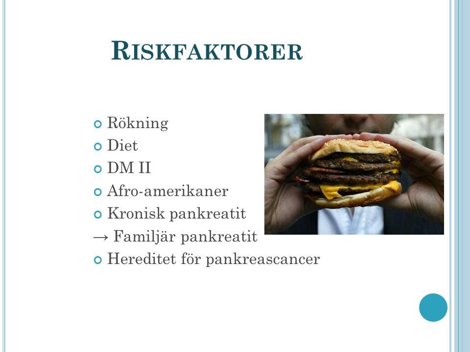 Riskfaktorer Rökning Diet DM II Afro-amerikaner Kronisk pankreatit