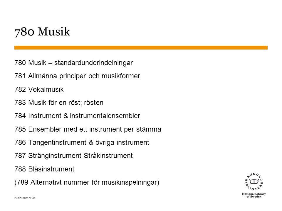 780 Musik 780 Musik – standardunderindelningar