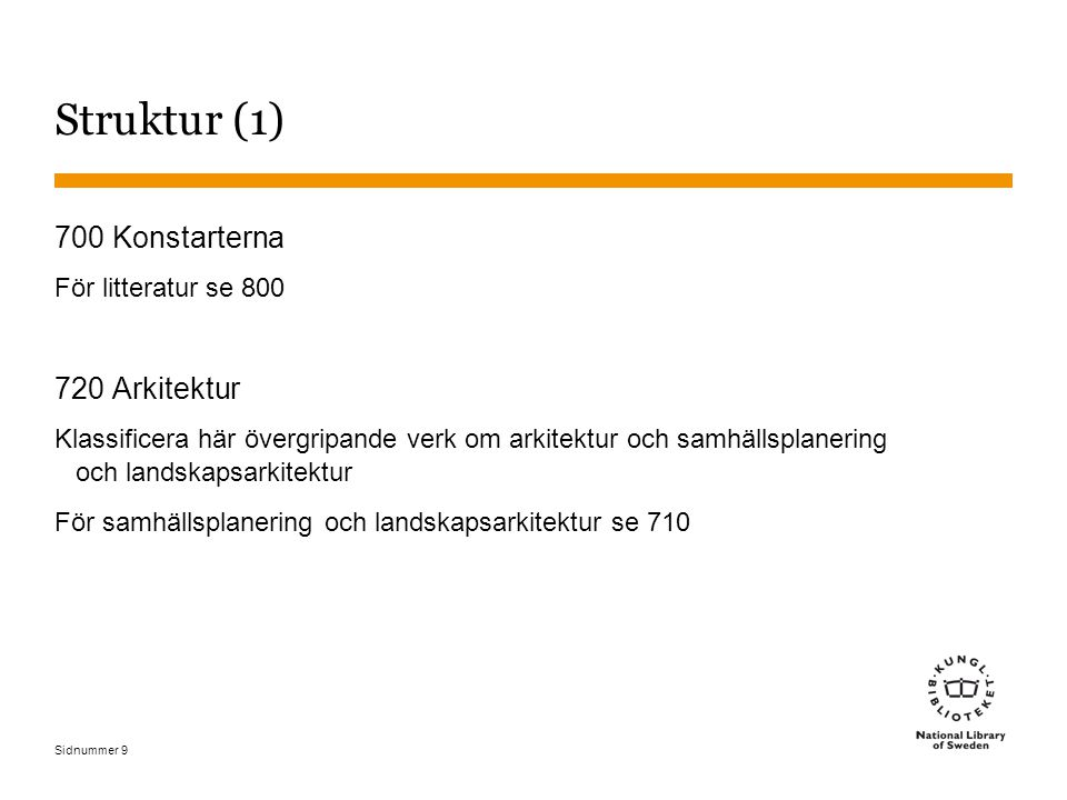 Struktur (1) 700 Konstarterna 720 Arkitektur För litteratur se 800