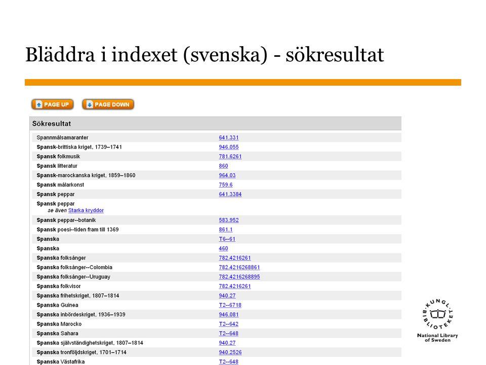 Bläddra i indexet (svenska) - sökresultat