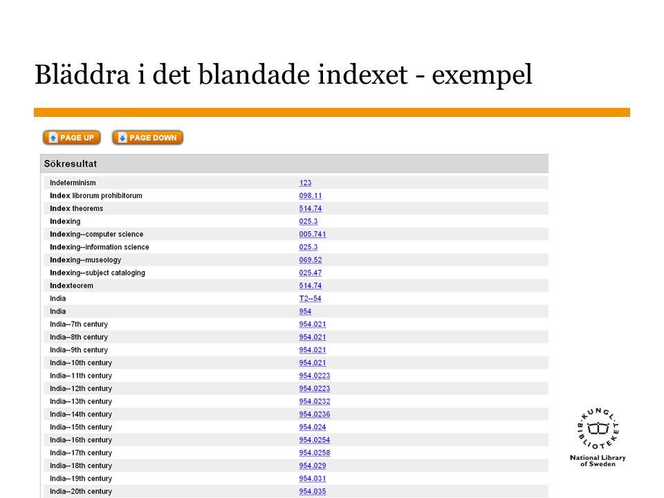 Bläddra i det blandade indexet - exempel