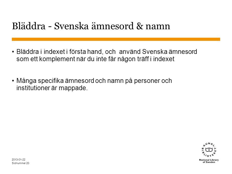 Bläddra - Svenska ämnesord & namn