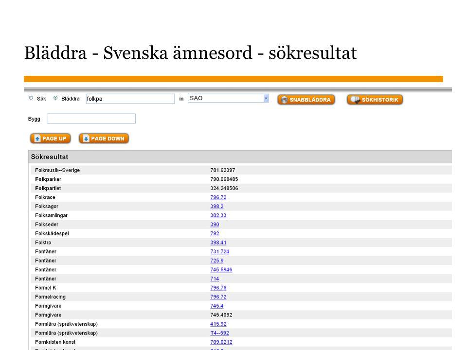 Bläddra - Svenska ämnesord - sökresultat