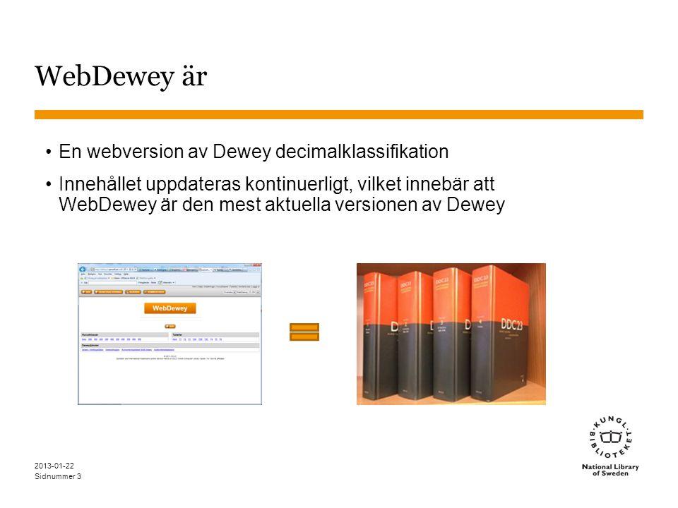 WebDewey är En webversion av Dewey decimalklassifikation