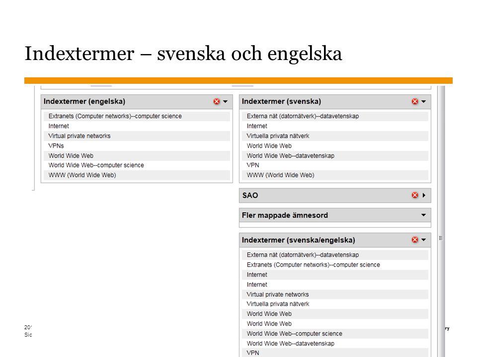Indextermer – svenska och engelska