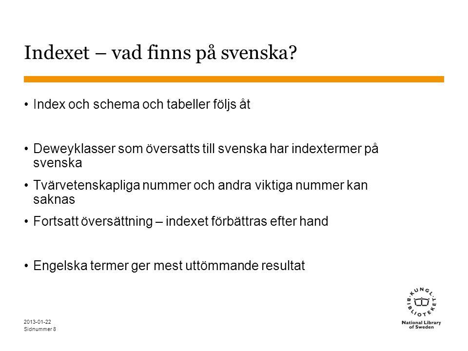 Indexet – vad finns på svenska