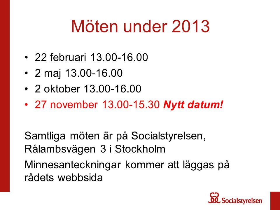 Möten under 2013 22 februari 13.00-16.00 2 maj 13.00-16.00