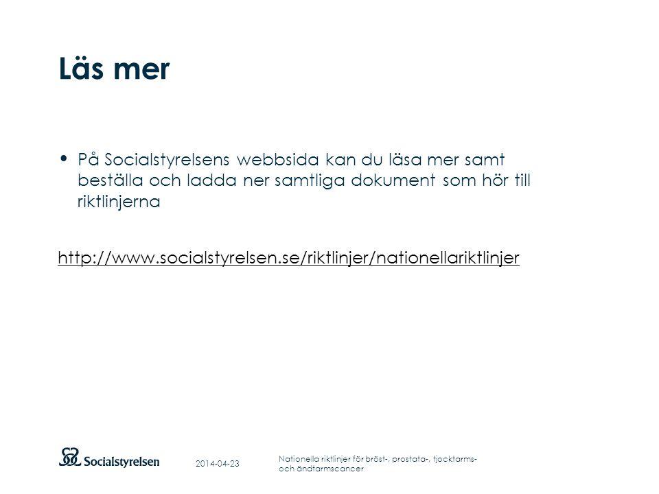 Läs mer På Socialstyrelsens webbsida kan du läsa mer samt beställa och ladda ner samtliga dokument som hör till riktlinjerna.