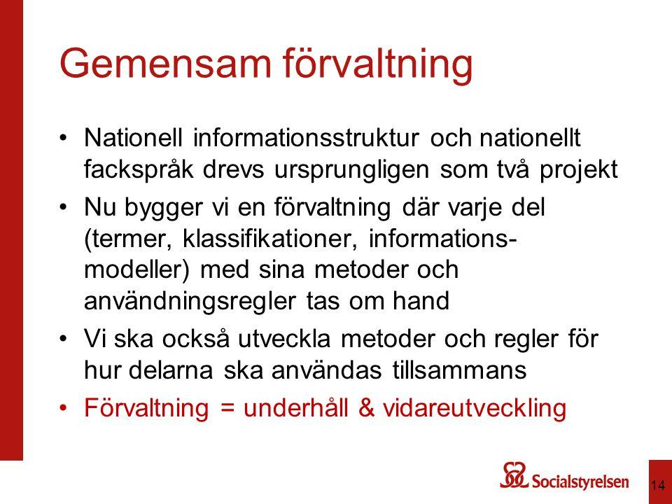Gemensam förvaltning Nationell informationsstruktur och nationellt fackspråk drevs ursprungligen som två projekt.
