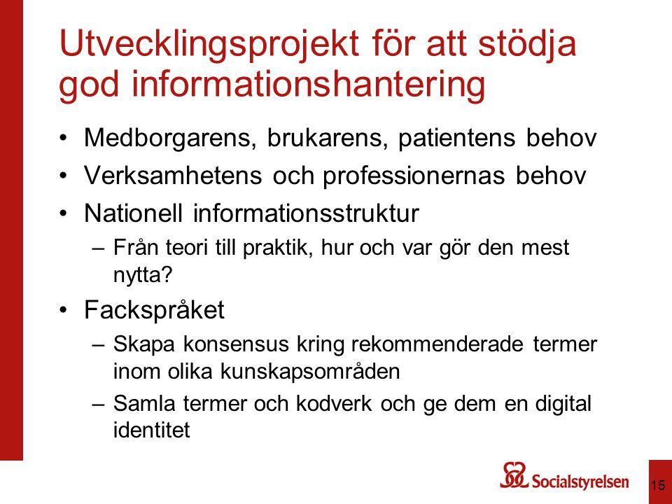 Utvecklingsprojekt för att stödja god informationshantering