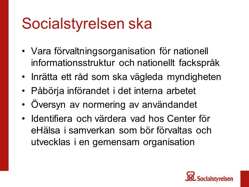 Socialstyrelsen ska Vara förvaltningsorganisation för nationell informationsstruktur och nationellt fackspråk.
