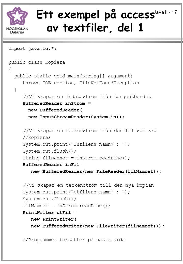 Ett exempel på access av textfiler, del 1