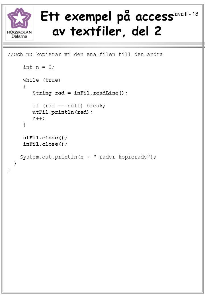 Ett exempel på access av textfiler, del 2