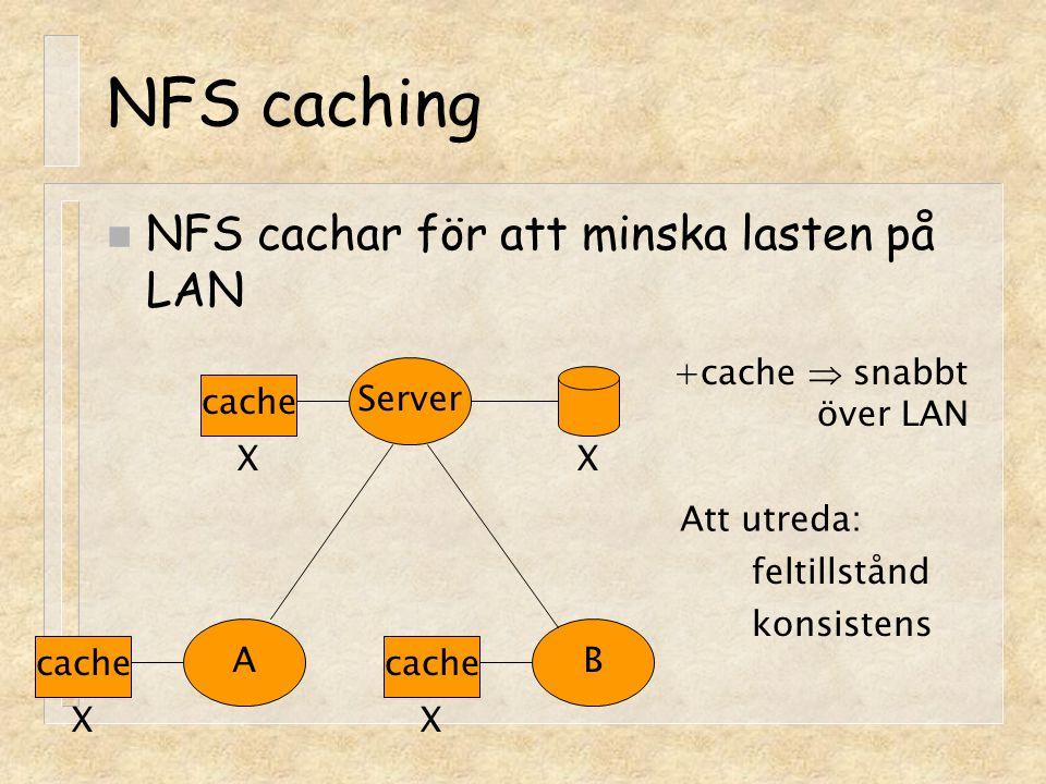 NFS caching NFS cachar för att minska lasten på LAN +cache  snabbt